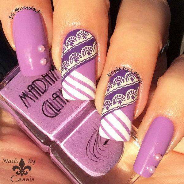 Purple Stripe Lace Nail Art.