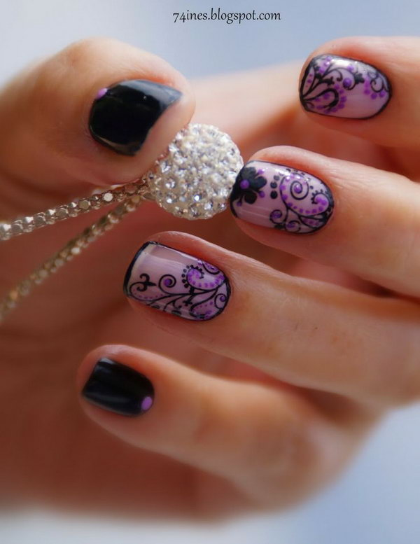 Black and Purple Flower Nail Art.