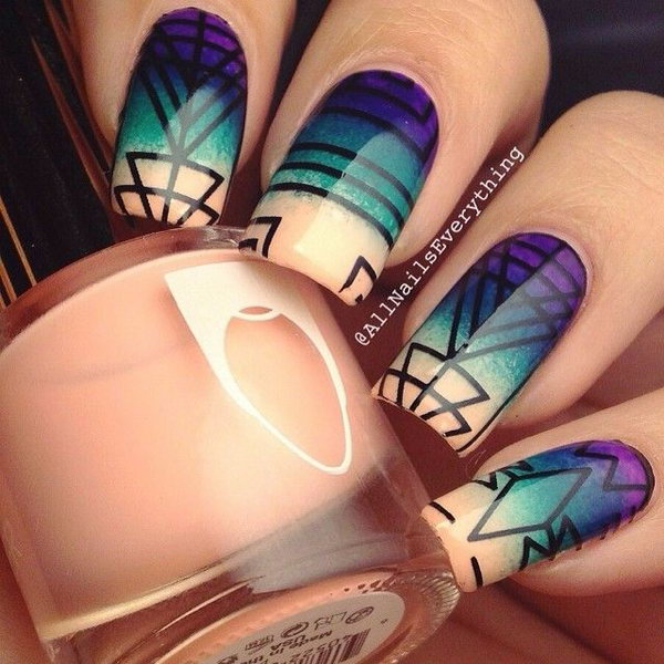 Beautiful Geometric Nail Art.