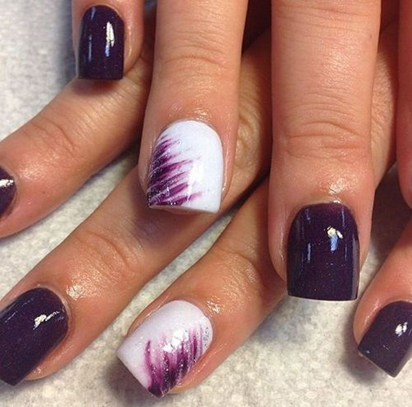 Dark Purple And White Design For Short Nails