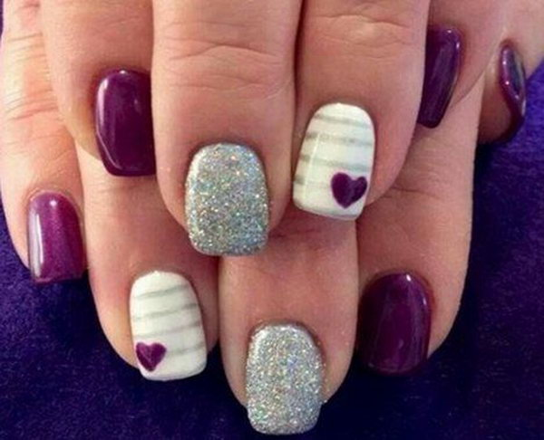 Purple and Silver Nails Acented with Cute Small Hearts. - 30+ Trendy Purple Nail Art Designs You Have To See