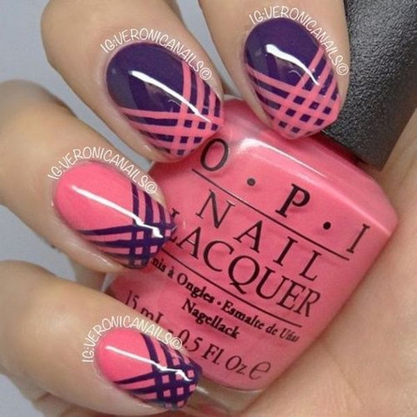 Pink and Purple Strip Manicure.