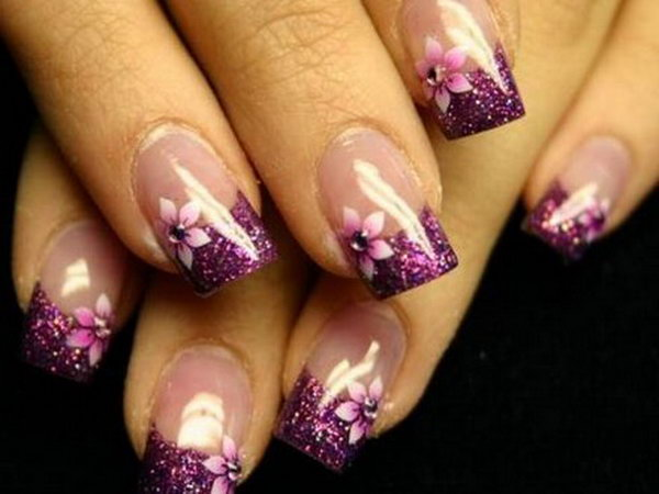 Stylish Purple Flower French Manicure