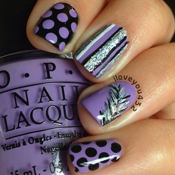 Black And Purple Feather Nails