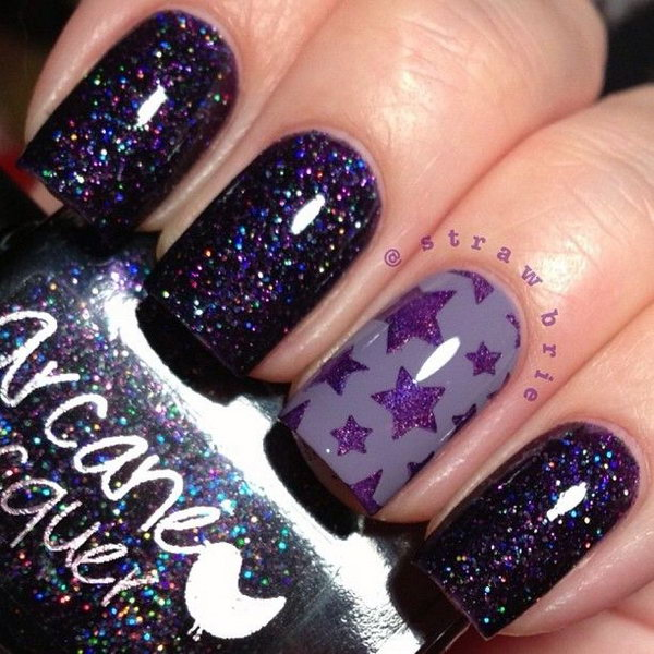 Glitter and Purple Star Nails.
