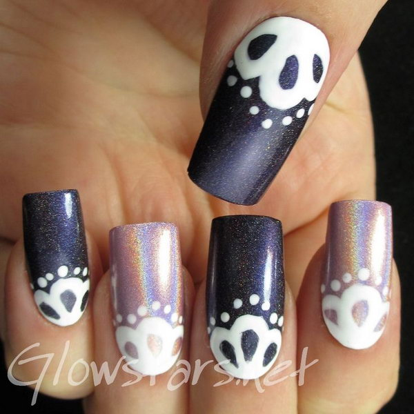 Holo and Lace Nail Art.