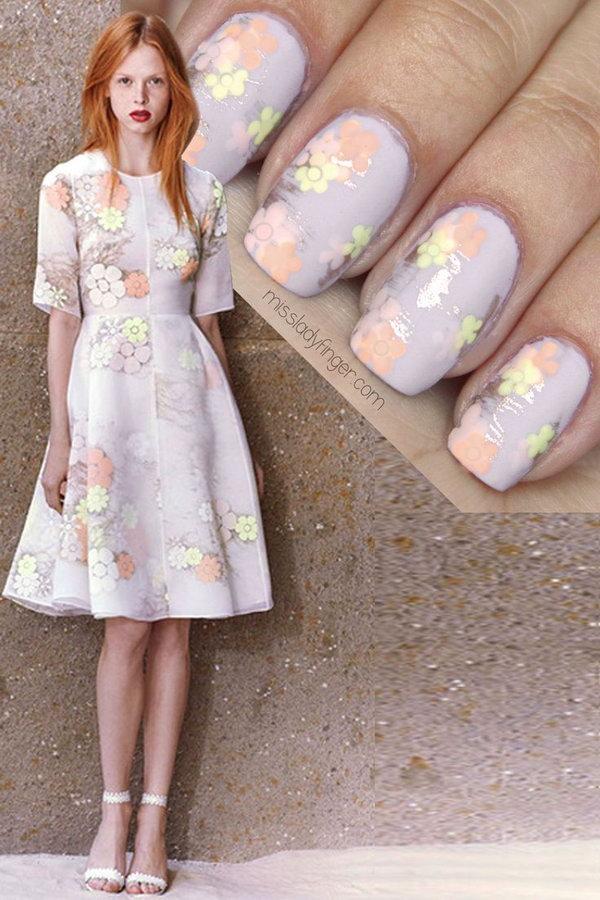 Elegant Floral Nail Art.