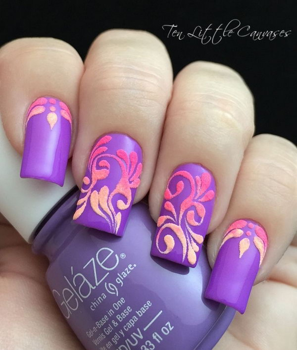 Neon Flourish Nail Design - 30+ Trendy Purple Nail Art Designs You Have To See