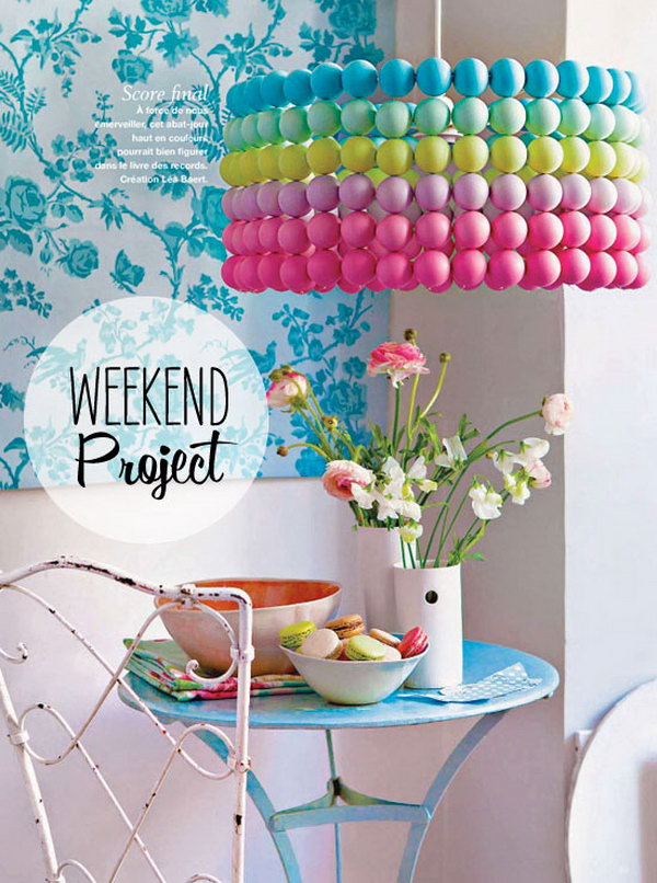 DIY Colorful Ping Pong Ball Pendant Light .