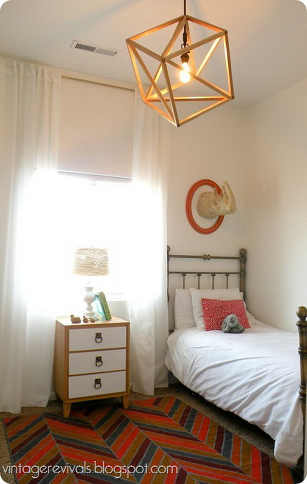 DIY Openwork Cube Pendant Light.