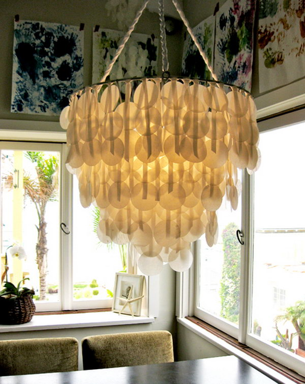 DIY Breathtaking Paper Capiz Shell Chandelier .