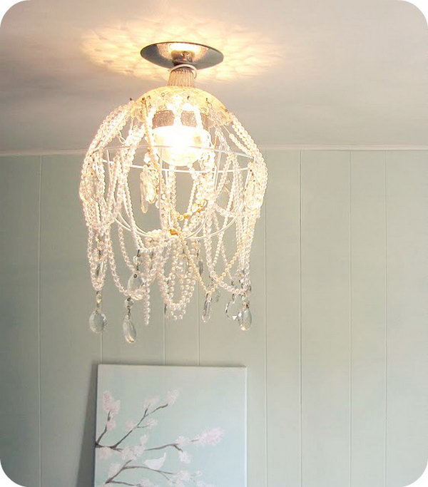 DIY Shabby Chic Crystal Chandelier.
