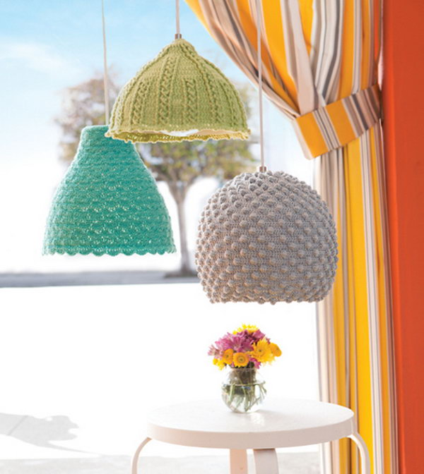 DIY Crochet Seashell Pendant Lights.
