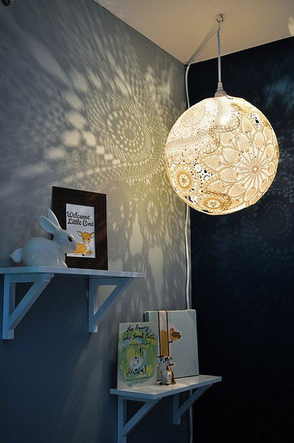 DIY Doily Pendant Light .