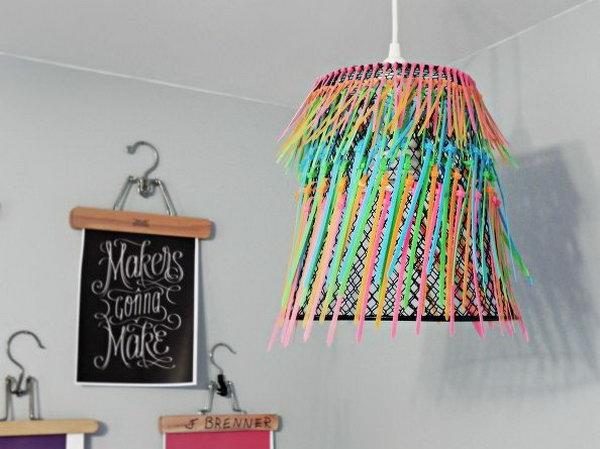 DIY Ombre Neon Zip tie Pendant Lamp .