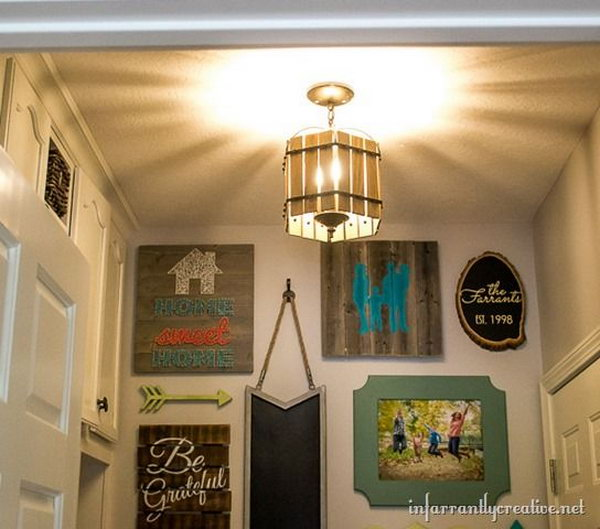 DIY Paint Stick Vintage Cage Chandelier . With some spray paint and paint sticks, you can turn an old brass and glass chandelier to a  bird cage like chandelier that looks great in the mudroom. And it adds to a rustic feel to the space. See the detailed tutorial