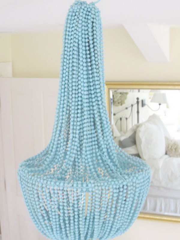 DIY Beaded chandelier Using Gold beads .