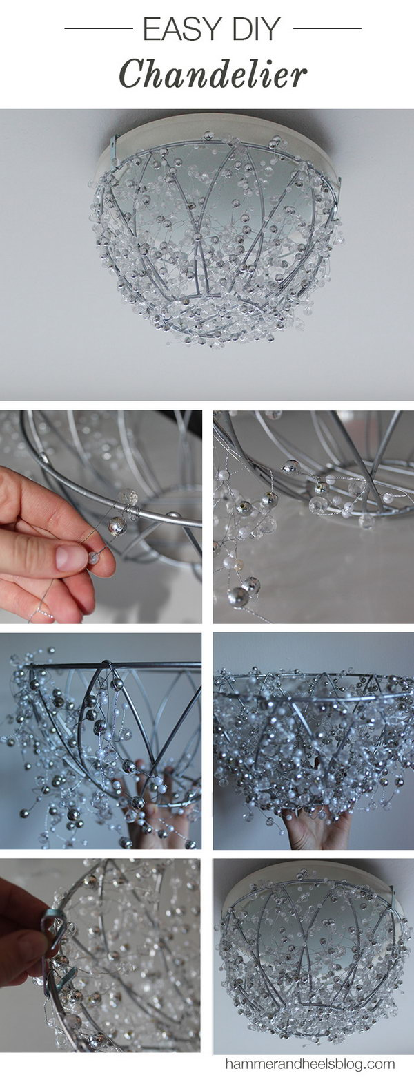 DIY Elegant Crystal Chandelier. Create with a hanging plant basket and some crystal garlands. This DIY version looks more complicated and chic than it actually is. Want to own one? Learn how to do it