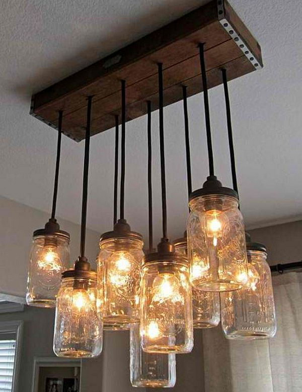 Homemade Chandelier Ideas: DIY Mason Jar Chandelier,Lighting