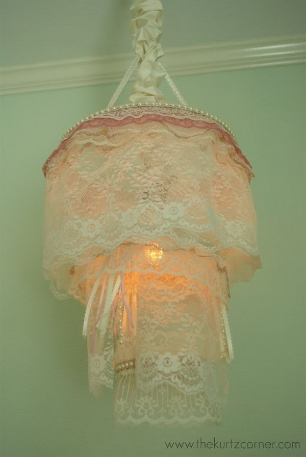 Fantastic diy chandelier tutorials and ideas for decorating on a diy romantic shabby chic lace chandelier solutioingenieria Images
