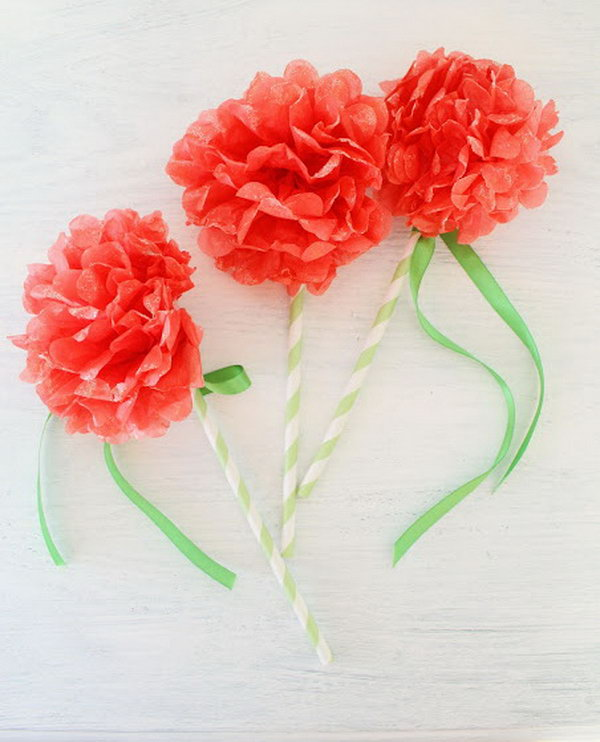 DIY Hand glittered Mini Paper Pom Fairy Flower Wands. See how