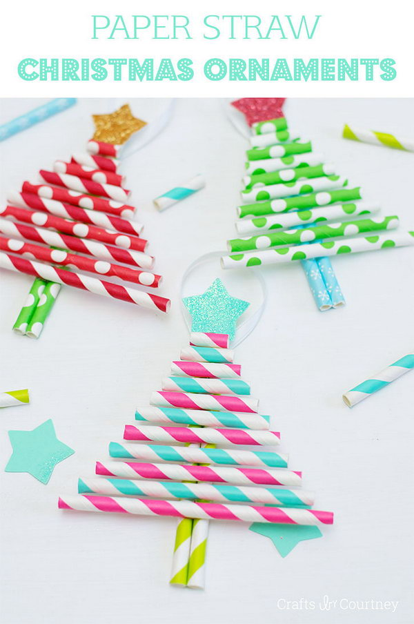 Paper Straw Christmas Tree Ornaments. See the directions