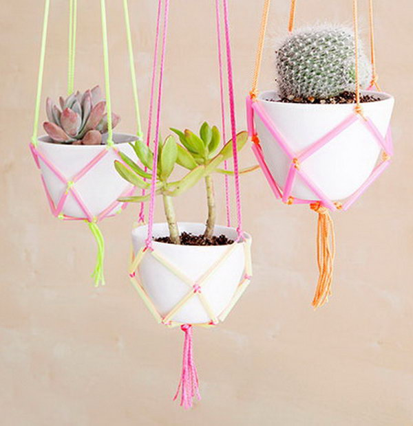 DIY Hanging Planters Using Plasic Straws and Yarn. See the tutorial