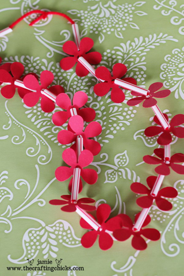 Homemade Hawaiian Leis for Kids Made with Drinking straws and Paper Flowers.