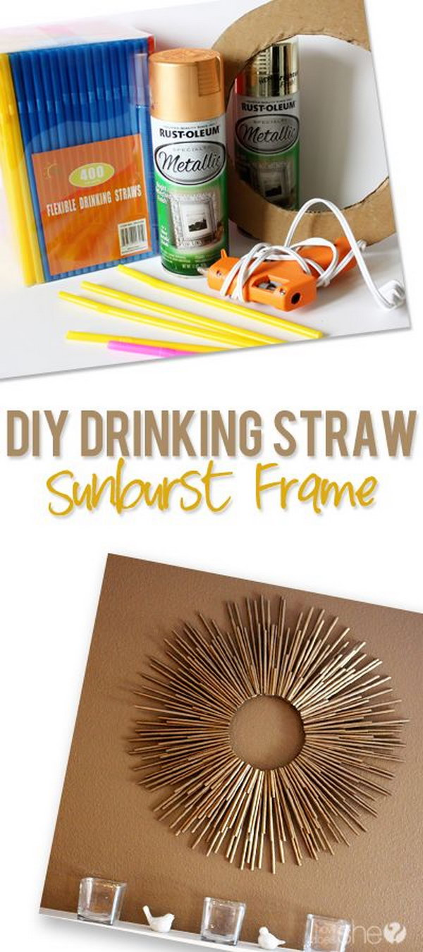 DIY Metallic Brassy Painted Drinking Straw Sunburst Frame.