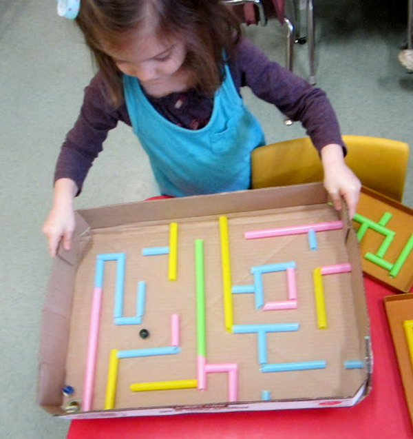 DIY Drinking Straw Maze for Children.