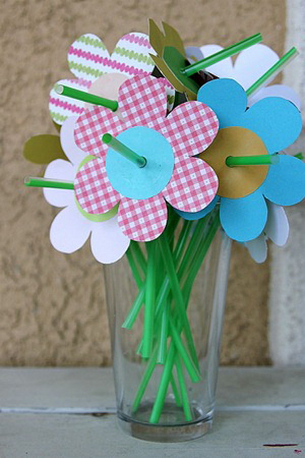 Spring Flowers Made with Straws and Paper Flowers.