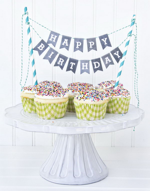 Printable Chalkboard Letters Cake Bunting. See the directions