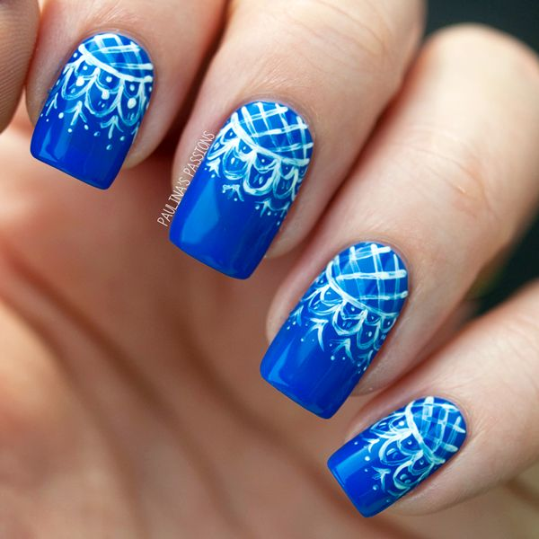 1 fashionable lace nail art designs