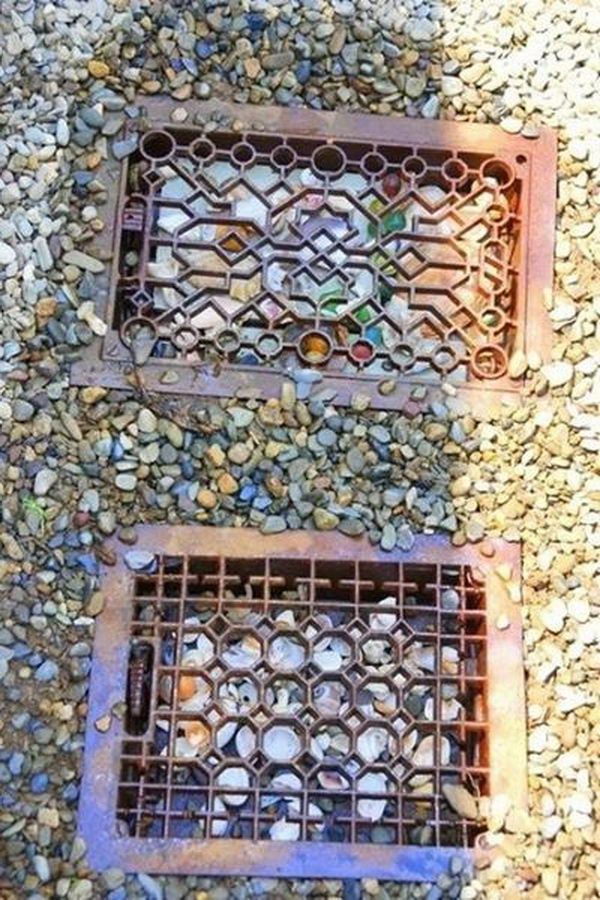1 old heater grates stepping stones