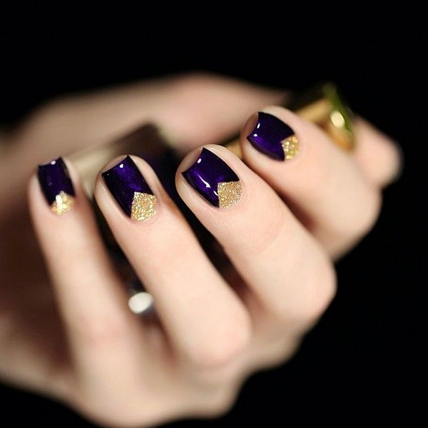 Dark Purple Nails with Gold Triangles - 30+ Trendy Purple Nail Art Designs You Have To See