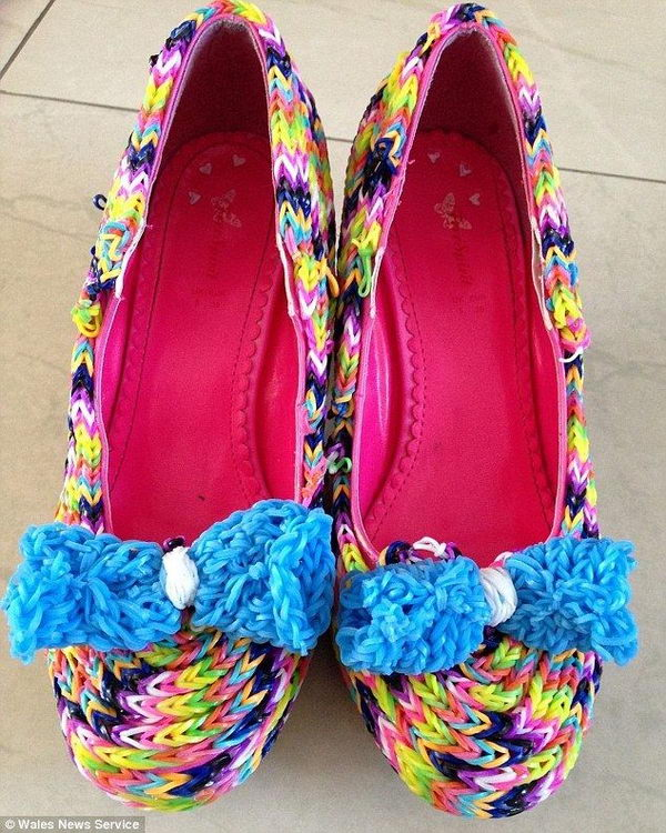 2 rainbow colored shoes