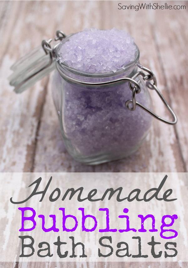 Homemade Lavender Bubbling Bath Salts.