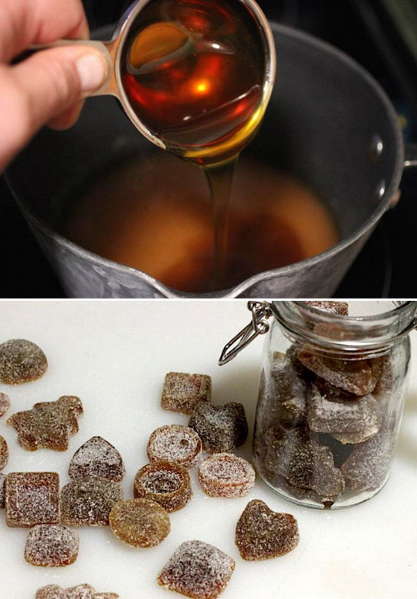 Homemade Natural Cough Drop Candys.  This cough drop candys will help you avoid more serious illness during upcoming cold months. Follow the steps to make your own natural cough drops via