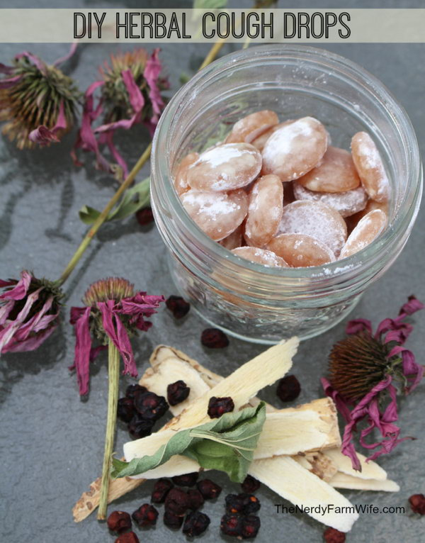 DIY All Natural Herbal Cough Drops. This DIY cough drops are made with herbal tea and honey or cane sugar. You can add any herbs as you like. Check out the herb options list and the tutorial via