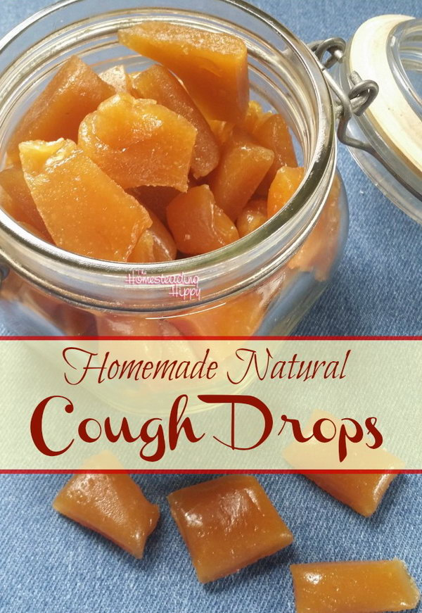 Homemade Natural Cough Drops. Simple ingredients and easy to make! Do help your family's cough quite a bit. Great for gifts or favors. Tutorial via