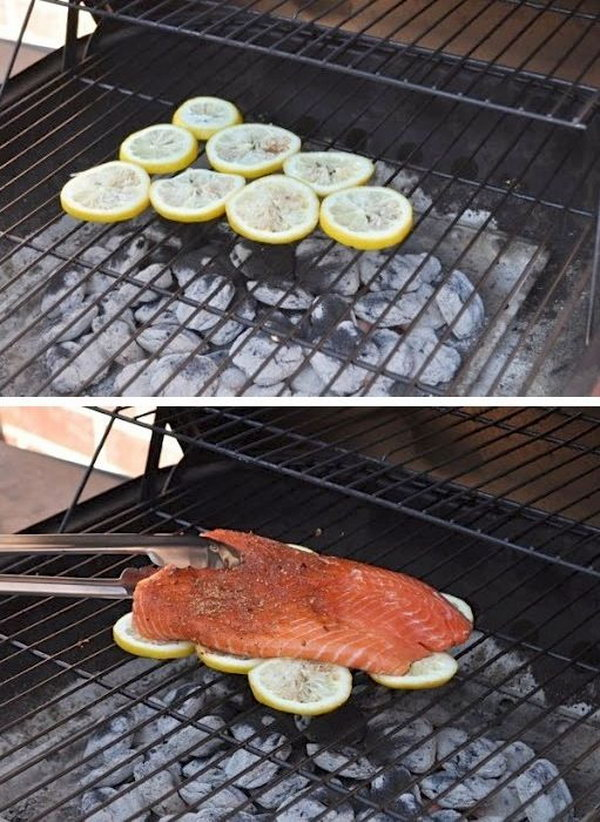 Cook Fish On Lemons. It is so easy to stick and fall apart on a grill when you are grilling or baking fish. Using sliced lemons to grill fish is the way to go and can help you out. Not only does the fish soak up the citrus flavor of the lemons, but it keeps your fish in one piece and makes clean up really easy.