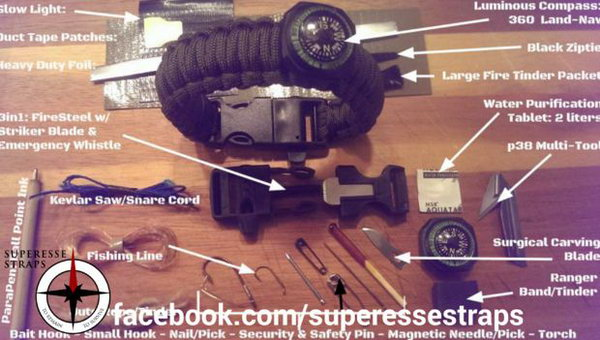 Paracord Bracelet with Survival Kit