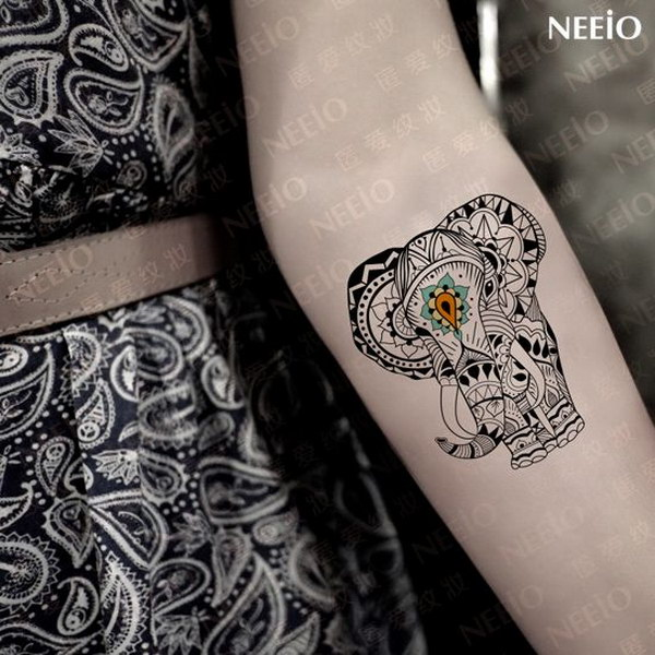 Lucky Elephant Tattoo on Arm.
