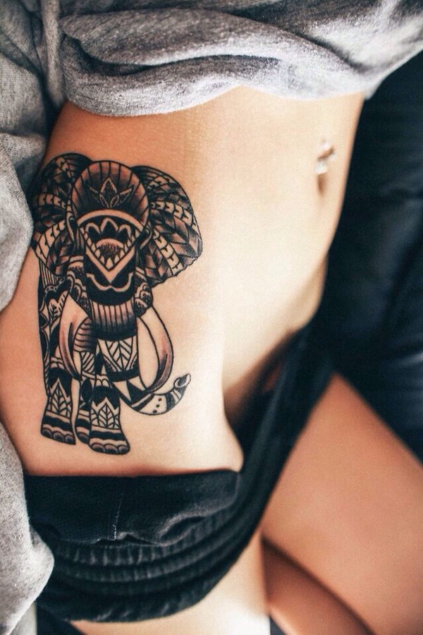 Sexy Elephant Thigh Tattoo.
