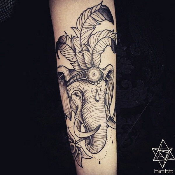 Tribal Elephant Tattoo on Arm.