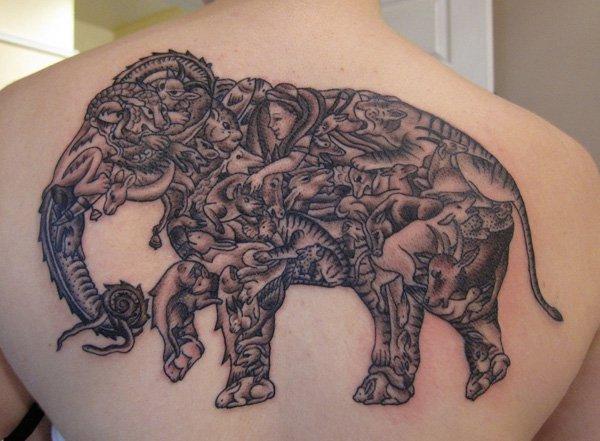 Incredible Back Elephant Tattoo.