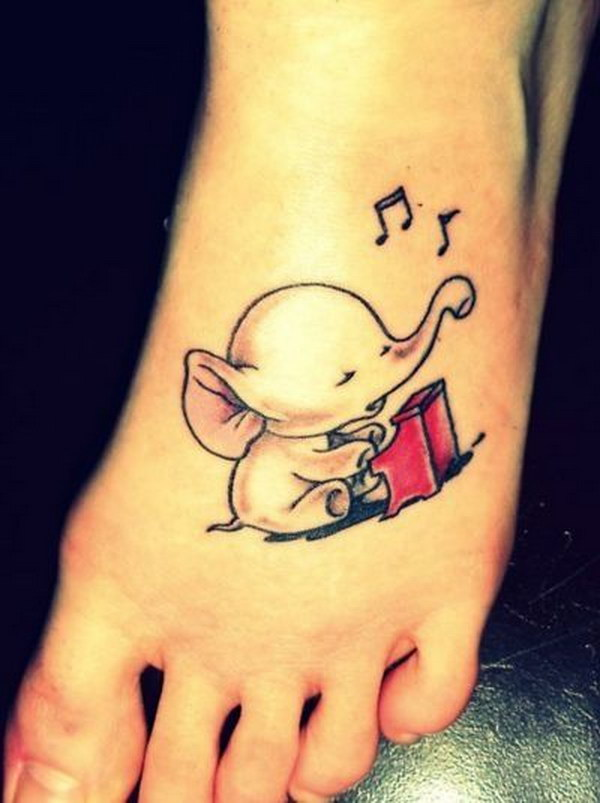 Cute Playing Piano Elephant Tattoo.