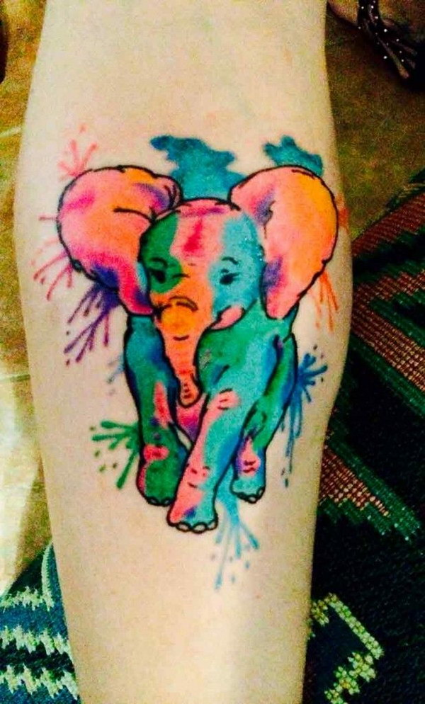 Abstract Watercolor Elephant Tattoo.