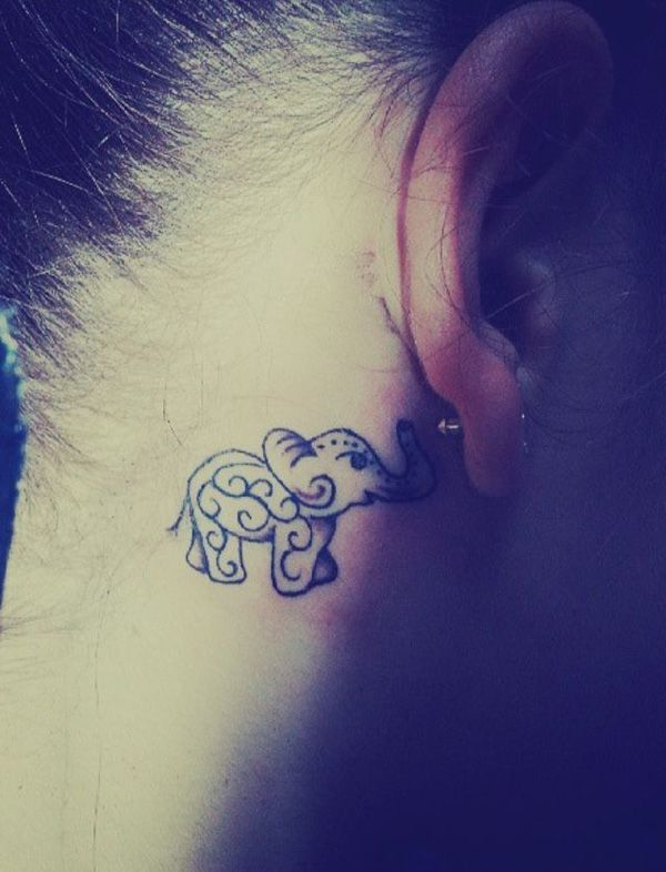 Back of the Ear Elephant Tattoo.