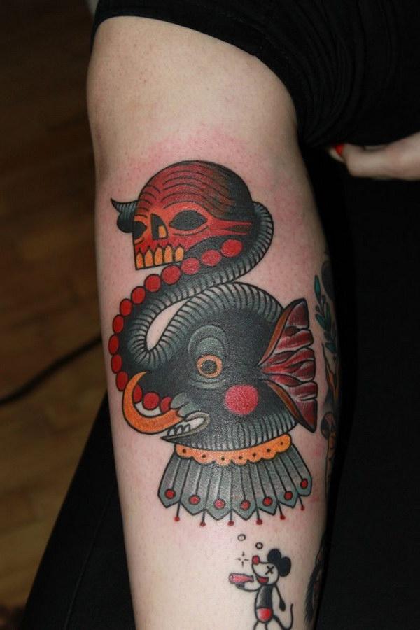 Eye cathching Deno Elephant Tattoo.